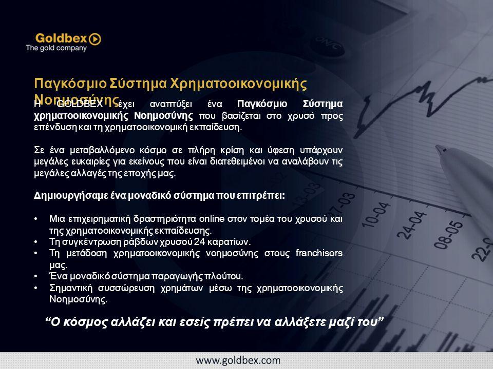 Παγκόσμιο Σύστημα Χρηματοοικονομικής Νοημοσύνης Η GOLDBEX έχει αναπτύξει ένα Παγκόσμιο Σύστημα χρηματοοικονομικής Νοημοσύνης που βασίζεται στο χρυσό προς επένδυση και τη χρηματοοικονομική εκπαίδευση.