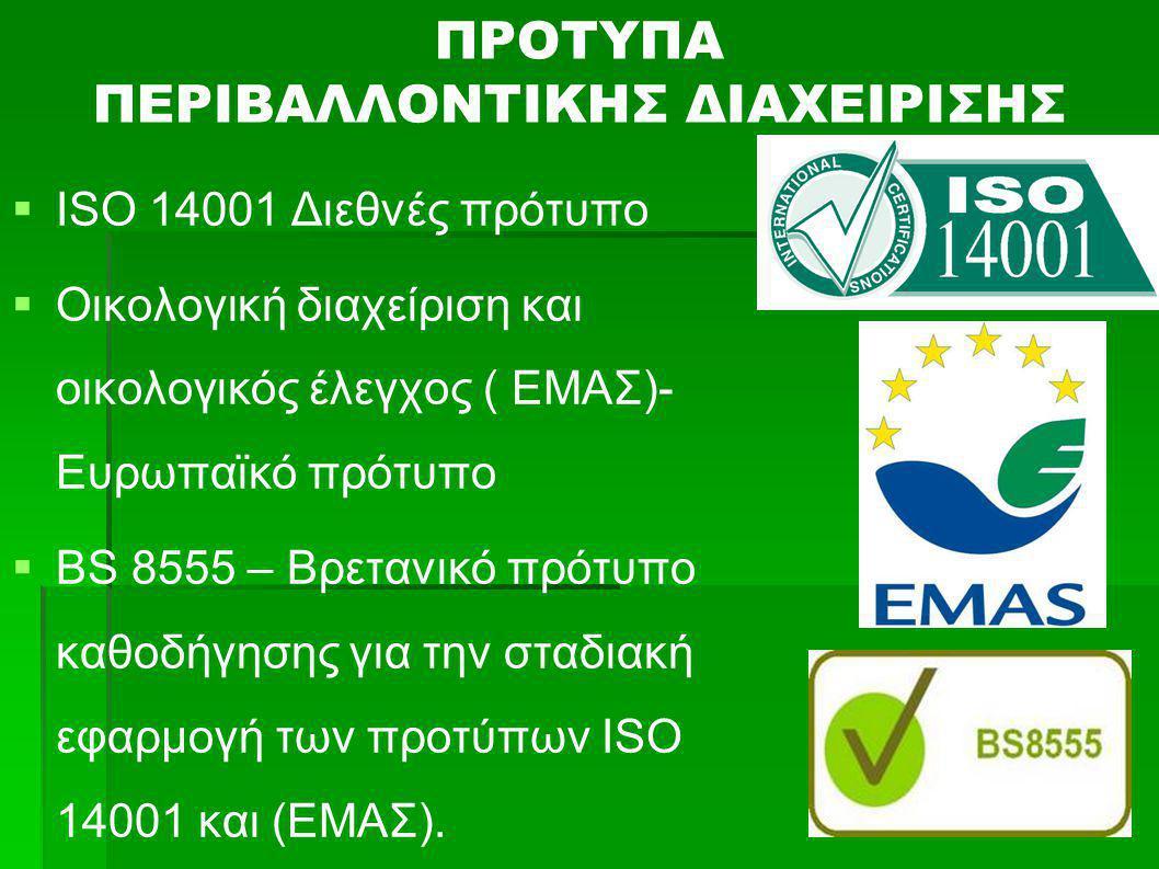 ΠΡΟΤΥΠΑ ΠΕΡΙΒΑΛΛΟΝΤΙΚΗΣ ΔΙΑΧΕΙΡΙΣΗΣ   ISO 14001 Διεθνές πρότυπο   Οικολογική διαχείριση και οικολογικός έλεγχος ( ΕΜΑΣ)- Ευρωπαϊκό πρότυπο   BS