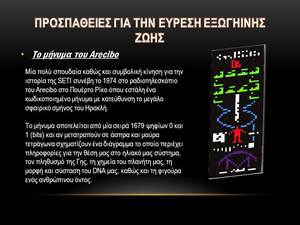 • Το μήνυμα του Arecibo Μία πολύ σπουδαία καθώς και συμβολική κίνηση για την ιστορία της SETI συνέβη το 1974 στο ραδιοτηλεσκόπιο του Arecibo στο Πουέρ