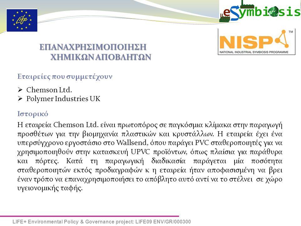 LIFE+ Environmental Policy & Governance project: LIFE09 ENV/GR/000300 Ερωτηματολόγιο