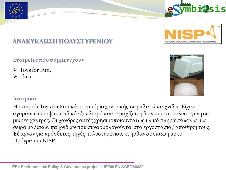 LIFE+ Environmental Policy & Governance project: LIFE09 ENV/GR/000300 ΑΝΑΚΥΚΛΩΣΗ ΠΟΛΥΣΤΥΡΕΝΙΟΥ Η Σύνδεση του NISP Η ομάδα του NISP αφού εντόπισε τη δυνατότητα σύμπραξης της εταιρείας Toys for Fun με την ΙΚΕΑ έφερε σε επαφή τις δύο εταιρείες.