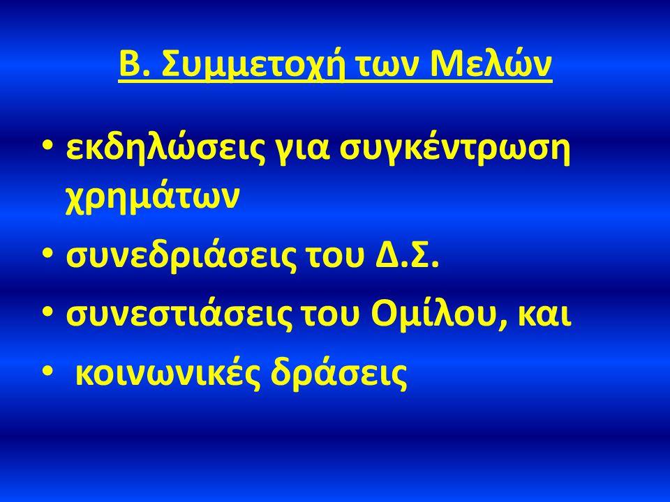 Β. Συμμετοχή των Μελών • εκδηλώσεις για συγκέντρωση χρημάτων • συνεδριάσεις του Δ.Σ.