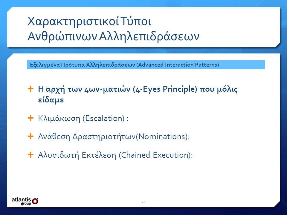 Χαρακτηριστικοί Τύποι Ανθρώπινων Αλληλεπιδράσεων  Η αρχή των 4ων-ματιών (4-Eyes Principle) που μόλις είδαμε  Κλιμάκωση (Escalation) :  Ανάθεση Δραστηριοτήτων(Nominations):  Αλυσιδωτή Εκτέλεση (Chained Execution): Εξελιγμένα Πρότυπα Αλληλεπιδράσεων (Advanced Interaction Patterns) 21