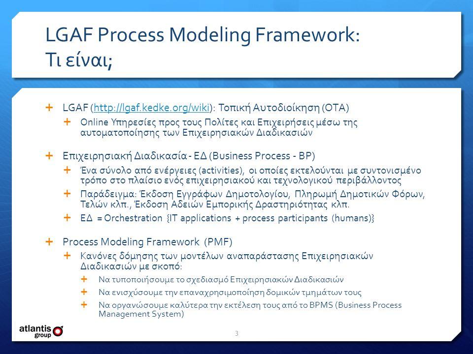 LGAF Process Modeling Framework: Τι είναι;  LGAF (http://lgaf.kedke.org/wiki): Τοπική Αυτοδιοίκηση (OTA)http://lgaf.kedke.org/wiki  Online Υπηρεσίες προς τους Πολίτες και Επιχειρήσεις μέσω της αυτοματοποίησης των Επιχειρησιακών Διαδικασιών  Επιχειρησιακή Διαδικασία - ΕΔ (Business Process - BP)  Ένα σύνολο από ενέργειες (activities), οι οποίες εκτελούνται με συντονισμένο τρόπο στο πλαίσιο ενός επιχειρησιακού και τεχνολογικού περιβάλλοντος  Παράδειγμα: Έκδοση Εγγράφων Δημοτολογίου, Πληρωμή Δημοτικών Φόρων, Τελών κλπ., Έκδοση Αδειών Εμπορικής Δραστηριότητας κλπ.