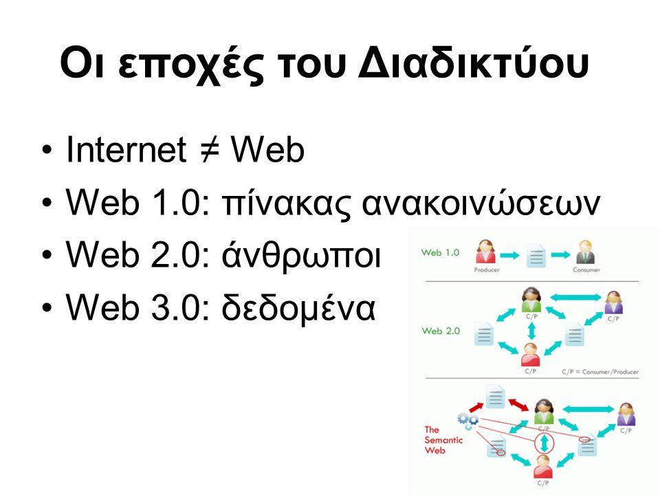 10 •Internet ≠ Web •Web 1.0: πίνακας ανακοινώσεων •Web 2.0: άνθρωποι •Web 3.0: δεδομένα Οι εποχές του Διαδικτύου
