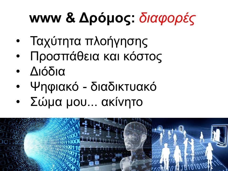 www & Δρόμος: διαφορές •Ταχύτητα πλοήγησης •Προσπάθεια και κόστος •Διόδια •Ψηφιακό - διαδικτυακό •Σώμα μου... ακίνητο