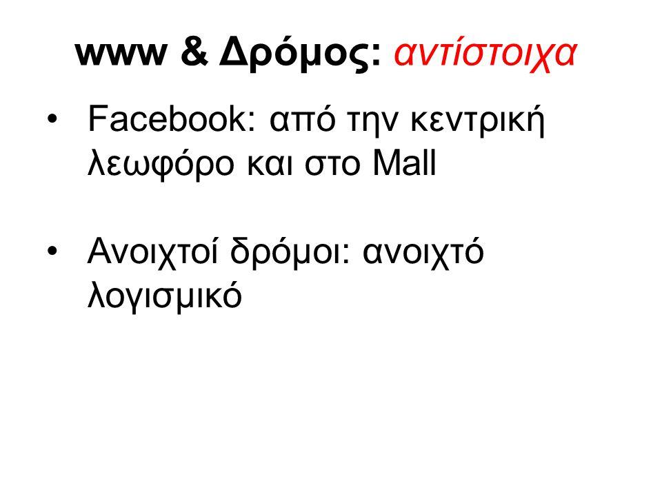 www & Δρόμος: αντίστοιχα •Facebook: από την κεντρική λεωφόρο και στο Mall •Ανοιχτοί δρόμοι: ανοιχτό λογισμικό