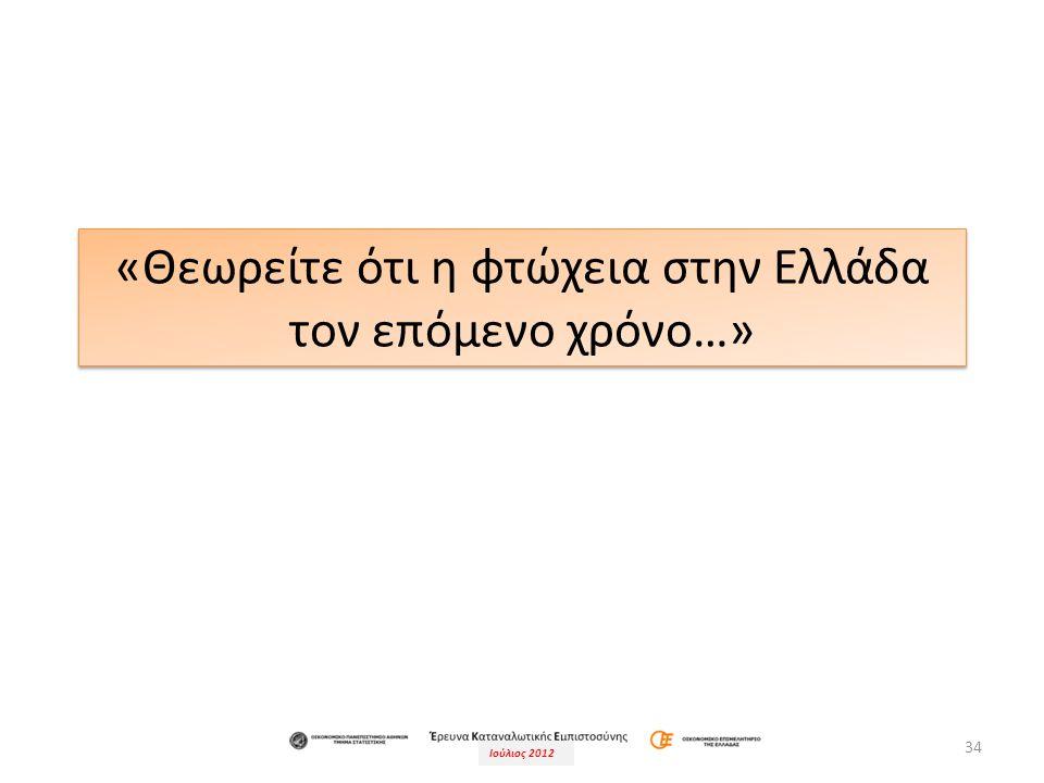 Ιούλιος 2012 34 «Θεωρείτε ότι η φτώχεια στην Ελλάδα τον επόμενο χρόνο…»