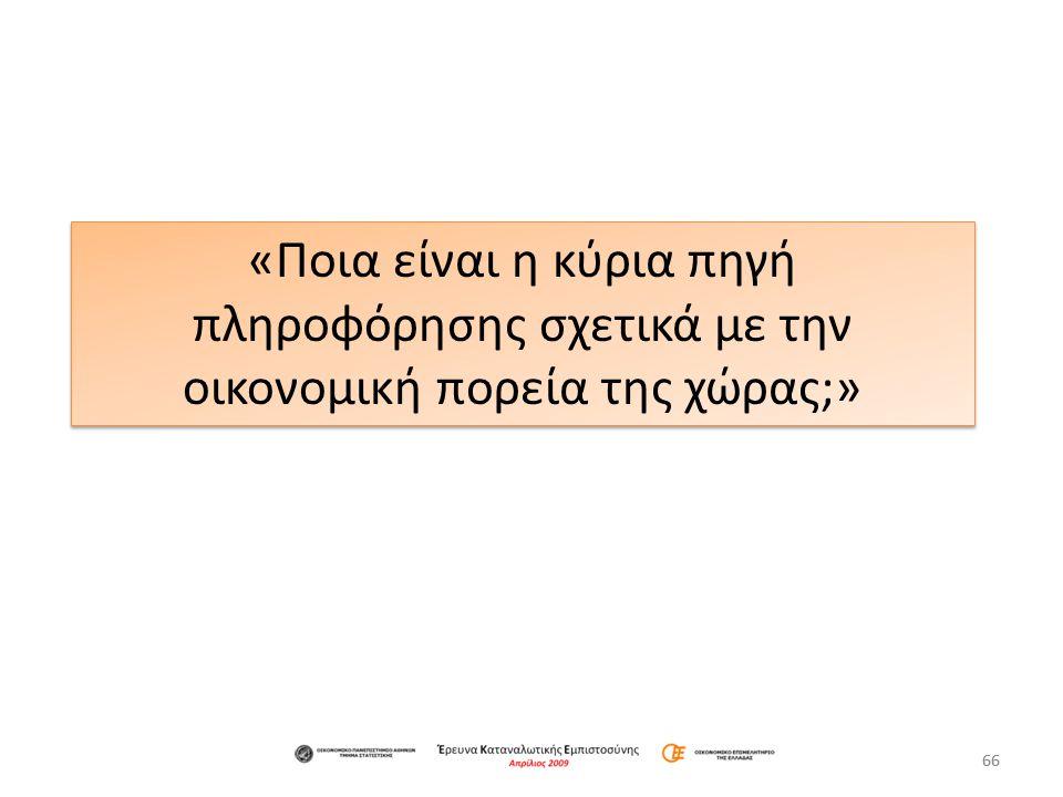 66 «Ποια είναι η κύρια πηγή πληροφόρησης σχετικά με την οικονομική πορεία της χώρας;»