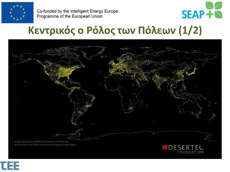 Κεντρικός ο Ρόλος των Πόλεων (2/2)  Το μεγαλύτερο ποσοστό της παραγόμενης ενέργειας καταναλώνεται στις αστικές περιοχές.