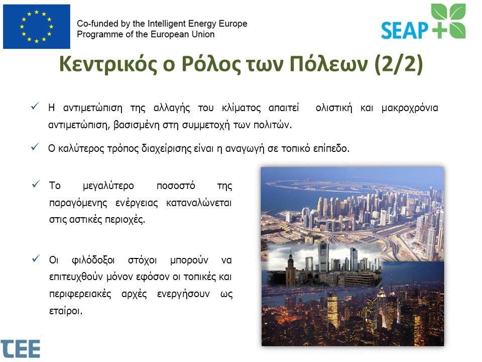 Κεντρικός ο Ρόλος των Πόλεων (2/2)  Το μεγαλύτερο ποσοστό της παραγόμενης ενέργειας καταναλώνεται στις αστικές περιοχές.  Οι φιλόδοξοι στόχοι μπορού