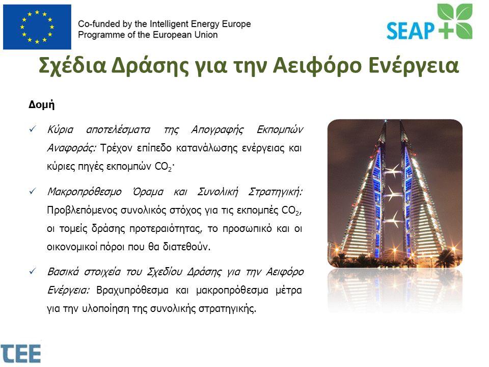 •Δήλωση της πολιτικής δέσμευσης για την αειφορία •Εξοικονόμηση ενέργειας και χρημάτων από τους λογαριασμούς ενέργειας •Πολιτική προβολή κατά τη διάρκεια της διαδικασίας •Γνώση της παρούσας κατάστασης της πόλης •Δυνατότητα κατάστρωσης ενός συνεκτικού Σχεδίου Δράσης •Μηχανισμός για την παρακολούθηση των έργων αειφορίας στην πόλη •Λήψη τεχνικής βοήθειας και υποστήριξης •Συνεργασία με άλλες Ευρωπαϊκές πόλεις και κοινότητες •Πρόσβαση σε προνομιούχα χρηματοδοτικά μέσα Γιατί να υπογράψουμε το Σύμφωνο;