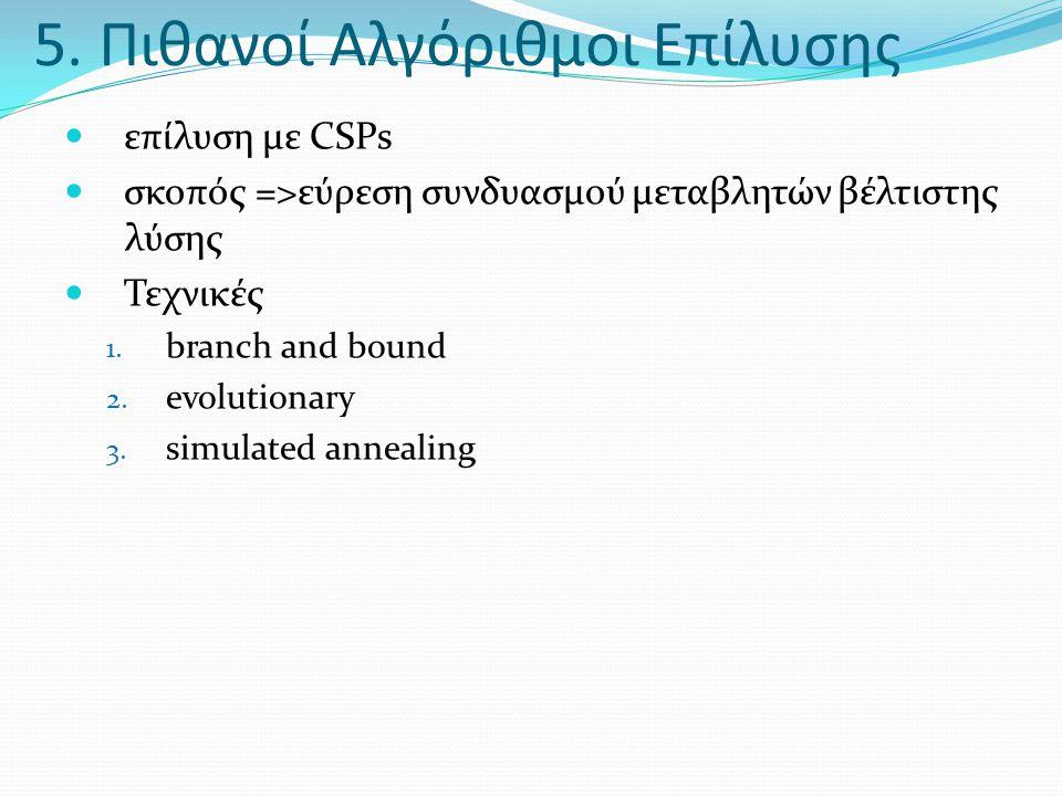 5. Πιθανοί Αλγόριθμοι Επίλυσης  επίλυση με CSPs  σκοπός =>εύρεση συνδυασμού μεταβλητών βέλτιστης λύσης  Τεχνικές 1. branch and bound 2. evolutionar