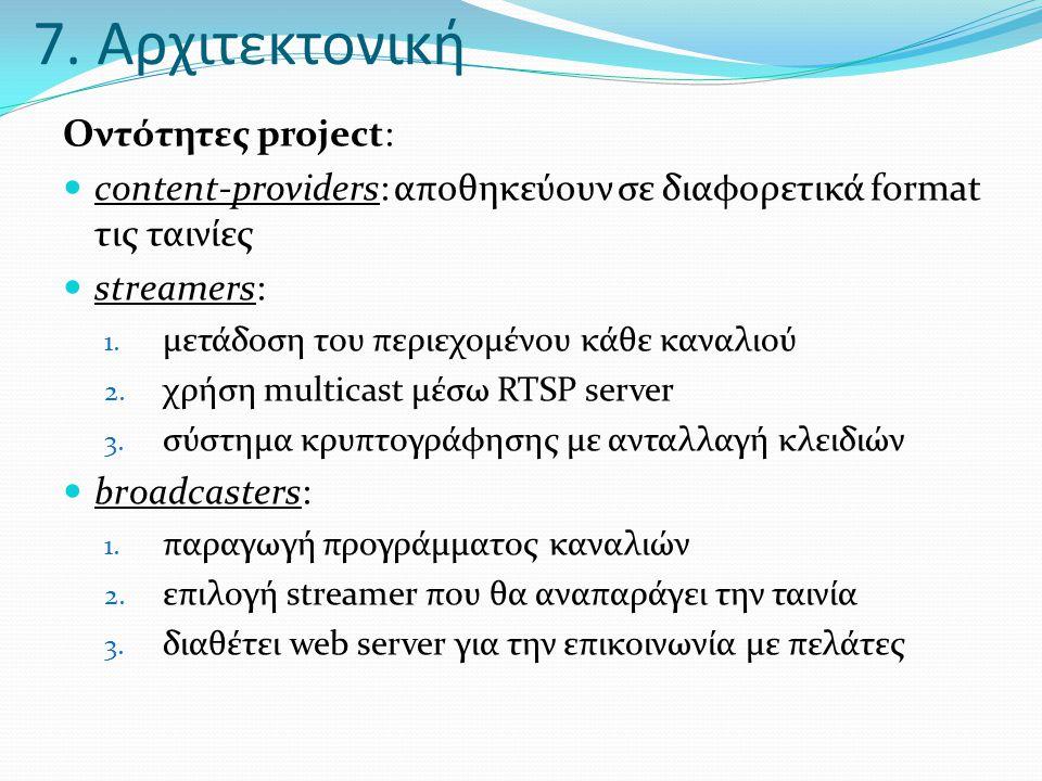 7. Αρχιτεκτονική Οντότητες project:  content-providers: αποθηκεύουν σε διαφορετικά format τις ταινίες  streamers: 1. μετάδοση του περιεχομένου κάθε