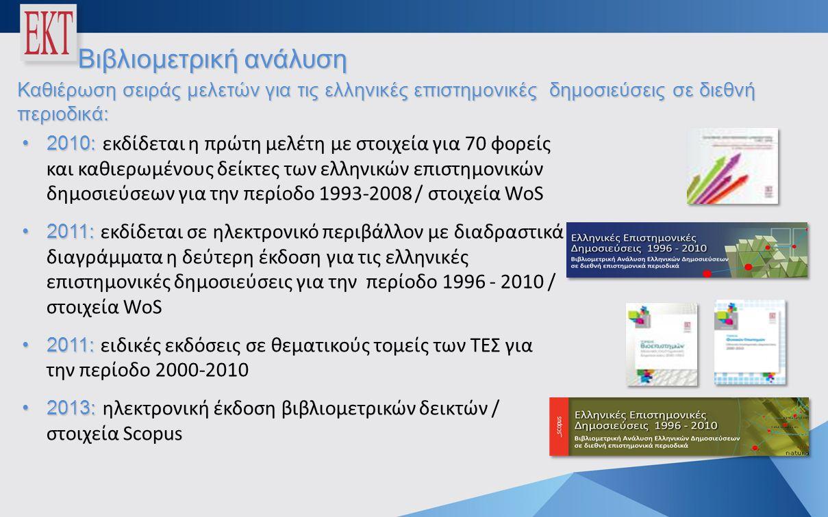 •2010: •2010: εκδίδεται η πρώτη μελέτη με στοιχεία για 70 φορείς και καθιερωμένους δείκτες των ελληνικών επιστημονικών δημοσιεύσεων για την περίοδο 1993-2008 / στοιχεία WoS •2011: •2011: εκδίδεται σε ηλεκτρονικό περιβάλλον με διαδραστικά διαγράμματα η δεύτερη έκδοση για τις ελληνικές επιστημονικές δημοσιεύσεις για την περίοδο 1996 - 2010 / στοιχεία WoS •2011: •2011: ειδικές εκδόσεις σε θεματικούς τομείς των ΤΕΣ για την περίοδο 2000-2010 •2013: •2013: ηλεκτρονική έκδοση βιβλιομετρικών δεικτών / στοιχεία Scopus Βιβλιομετρική ανάλυση Καθιέρωση σειράς μελετών για τις ελληνικές επιστημονικές δημοσιεύσεις σε διεθνή περιοδικά: