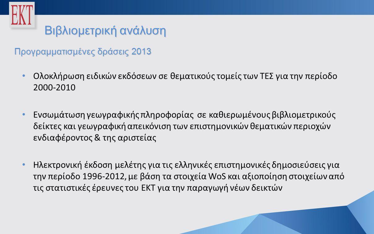 Βιβλιομετρική ανάλυση Προγραμματισμένες δράσεις 2013 • Ολοκλήρωση ειδικών εκδόσεων σε θεματικούς τομείς των ΤΕΣ για την περίοδο 2000-2010 • Ενσωμάτωση γεωγραφικής πληροφορίας σε καθιερωμένους βιβλιομετρικούς δείκτες και γεωγραφική απεικόνιση των επιστημονικών θεματικών περιοχών ενδιαφέροντος & της αριστείας • Ηλεκτρονική έκδοση μελέτης για τις ελληνικές επιστημονικές δημοσιεύσεις για την περίοδο 1996-2012, με βάση τα στοιχεία WoS και αξιοποίηση στοιχείων από τις στατιστικές έρευνες του ΕΚΤ για την παραγωγή νέων δεικτών
