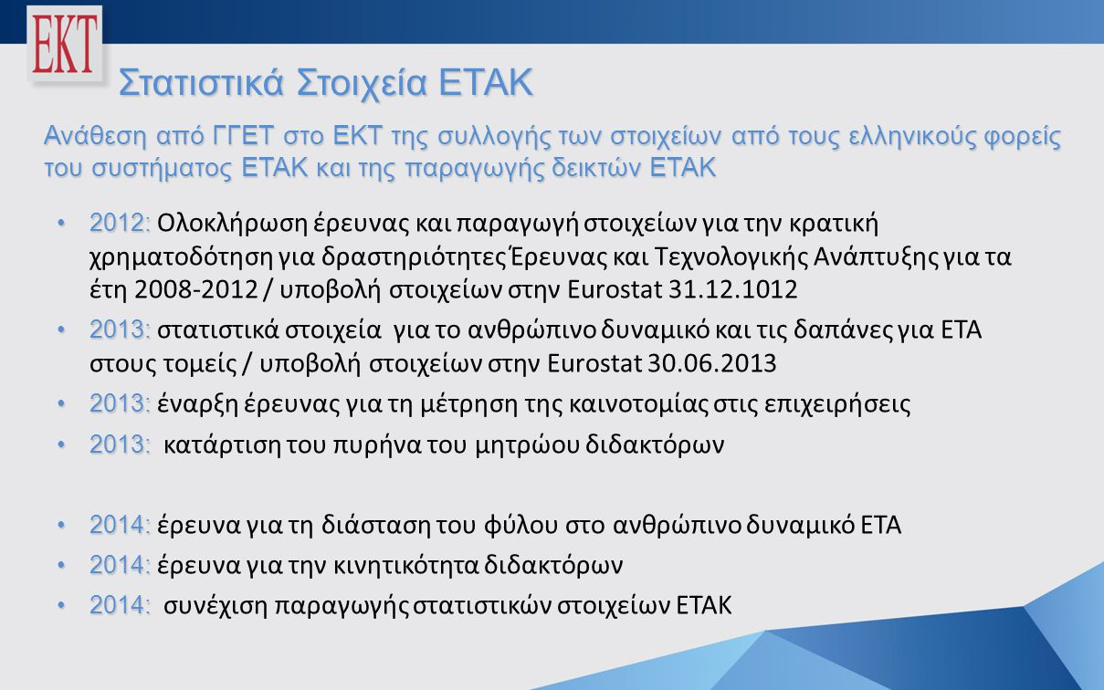 Στατιστικά Στοιχεία ΕΤΑΚ Ανάθεση από ΓΓΕΤ στο ΕΚΤ της συλλογής των στοιχείων από τους ελληνικούς φορείς του συστήματος ΕΤΑΚ και της παραγωγής δεικτών ΕΤΑΚ •2012: •2012: Ολοκλήρωση έρευνας και παραγωγή στοιχείων για την κρατική χρηματοδότηση για δραστηριότητες Έρευνας και Τεχνολογικής Ανάπτυξης για τα έτη 2008-2012 / υποβολή στοιχείων στην Eurostat 31.12.1012 •2013: •2013: στατιστικά στοιχεία για το ανθρώπινο δυναμικό και τις δαπάνες για ΕΤΑ στους τομείς / υποβολή στοιχείων στην Eurostat 30.06.2013 •2013: •2013: έναρξη έρευνας για τη μέτρηση της καινοτομίας στις επιχειρήσεις •2013: •2013: κατάρτιση του πυρήνα του μητρώου διδακτόρων •2014: •2014: έρευνα για τη διάσταση του φύλου στο ανθρώπινο δυναμικό ΕΤΑ •2014: •2014: έρευνα για την κινητικότητα διδακτόρων •2014: •2014: συνέχιση παραγωγής στατιστικών στοιχείων ΕΤΑΚ