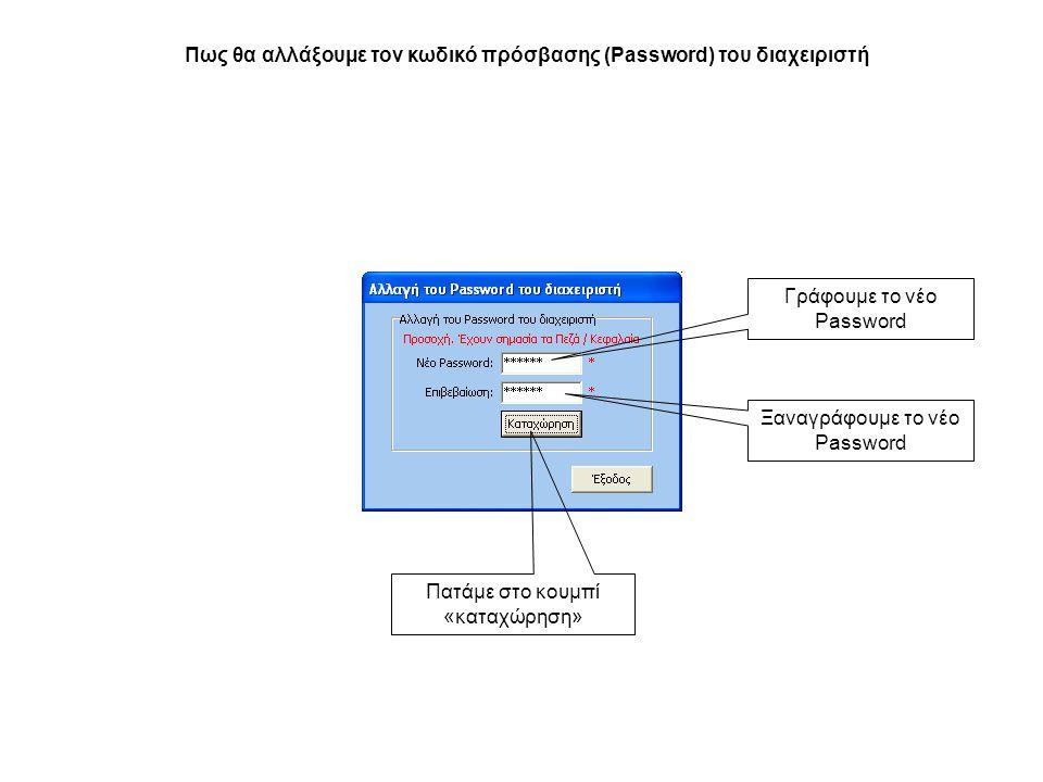 Πως θα αλλάξουμε τον κωδικό πρόσβασης (Password) του διαχειριστή Γράφουμε το νέο Password Ξαναγράφουμε το νέο Password Πατάμε στο κουμπί «καταχώρηση»