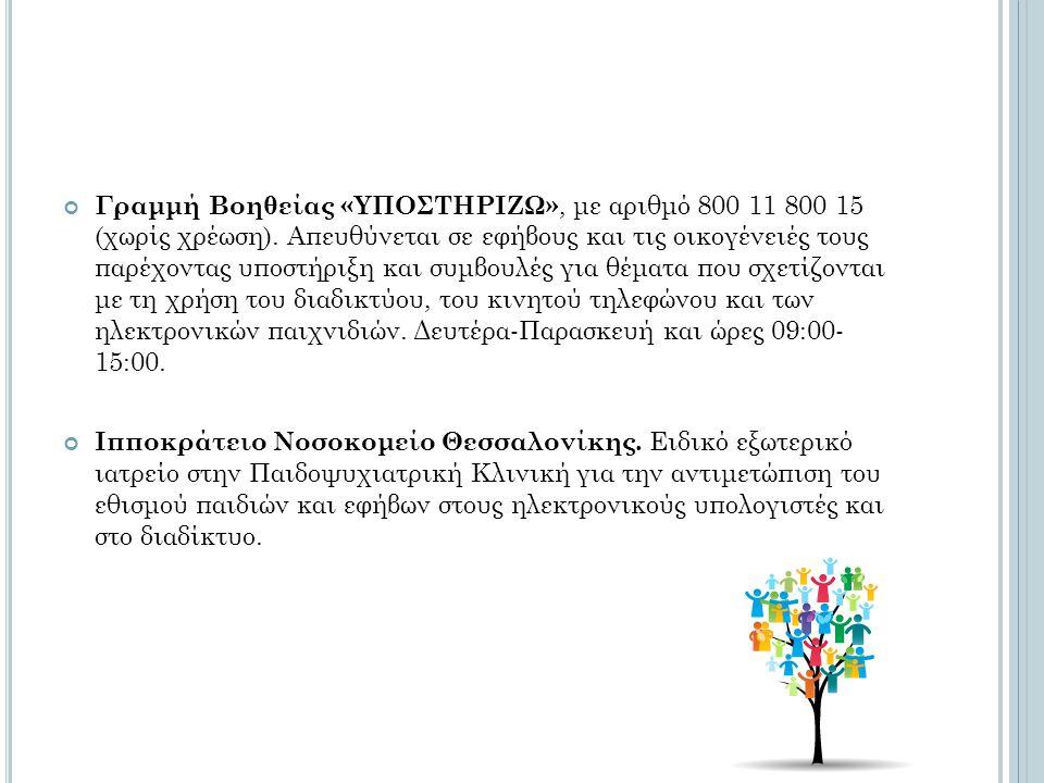 Γραμμή Βοηθείας «ΥΠΟΣΤΗΡΙΖΩ», με αριθμό 800 11 800 15 (χωρίς χρέωση). Απευθύνεται σε εφήβους και τις οικογένειές τους παρέχοντας υποστήριξη και συμβου