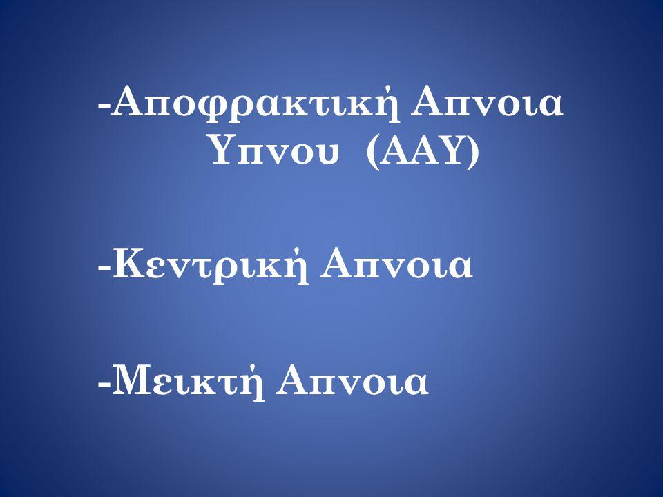 -Αποφρακτική Απνοια Υπνου ( AAY) -Κεντρική Απνοια -Μεικτή Απνοια