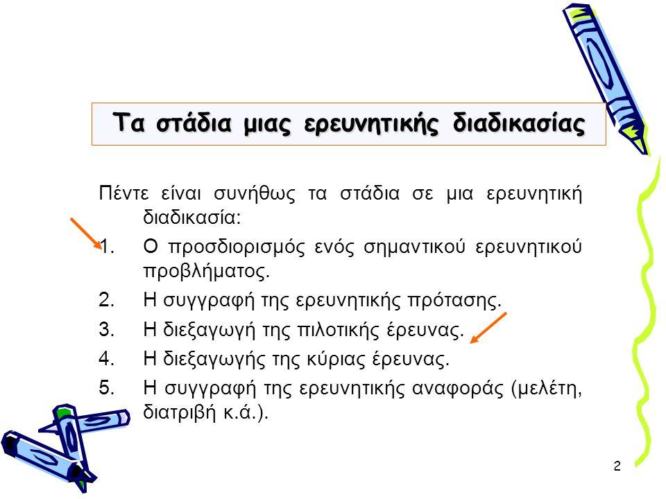 2 Πέντε είναι συνήθως τα στάδια σε μια ερευνητική διαδικασία: 1.Ο προσδιορισμός ενός σημαντικού ερευνητικού προβλήματος. 2.Η συγγραφή της ερευνητικής
