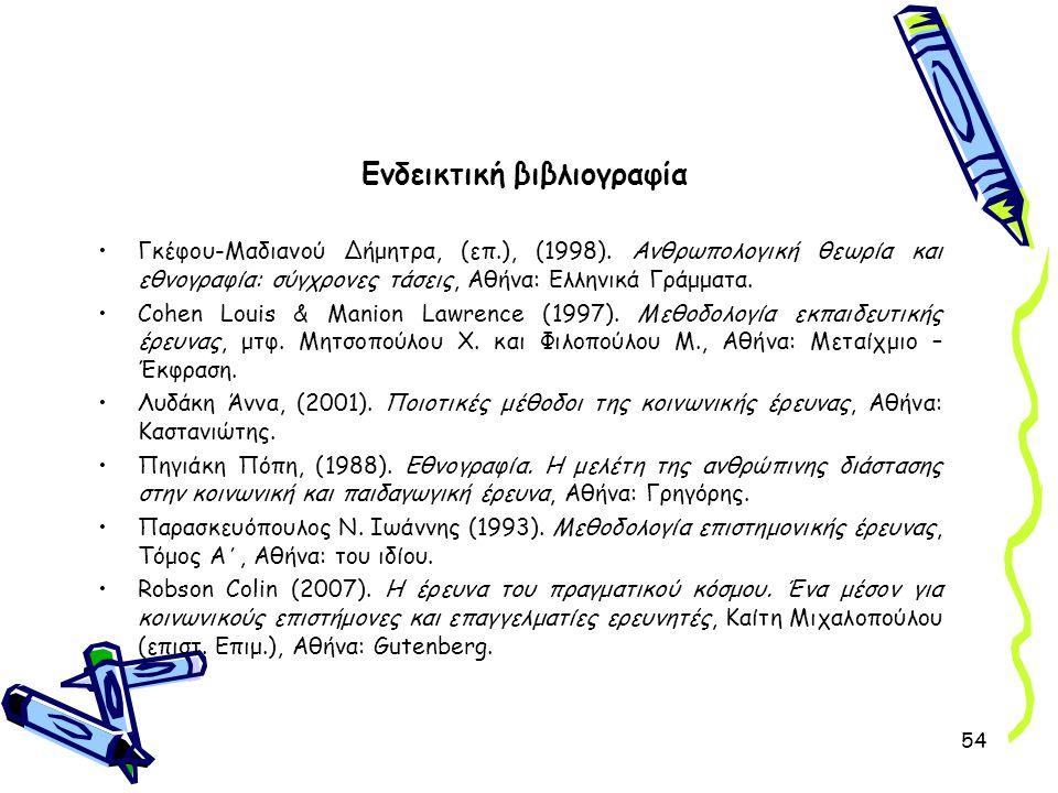 54 Ενδεικτική βιβλιογραφία •Γκέφου-Μαδιανού Δήμητρα, (επ.), (1998). Ανθρωπολογική θεωρία και εθνογραφία: σύγχρονες τάσεις, Αθήνα: Ελληνικά Γράμματα. •