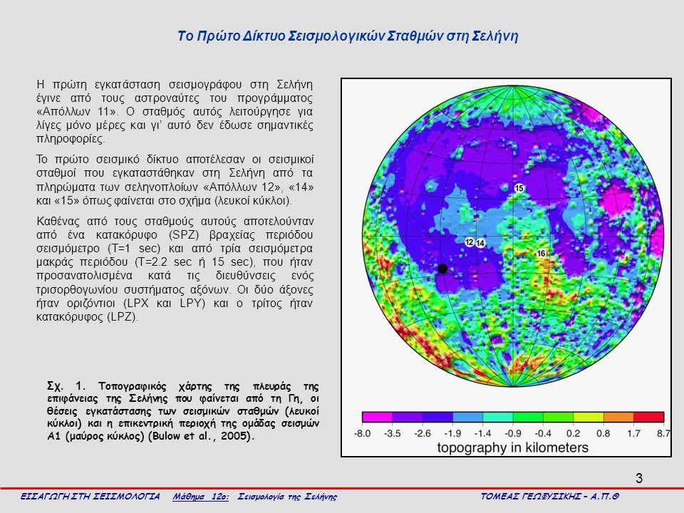 14 ΕΙΣΑΓΩΓΗ ΣΤΗ ΣΕΙΣΜΟΛΟΓΙΑ Μάθημα 12ο: Σεισμολογία της Σελήνης ΤΟΜΕΑΣ ΓΕΩΦΥΣΙΚΗΣ – Α.Π.Θ Γεωφυσική δομή του εσωτερικού της Σελήνης Αριστερά: μεταβολή των ταχυτήτων των επιμήκων κυμάτων (συνεχής καμπύλη) και των εγκαρσίων κυμάτων (διακεκομμένη καμπύλη) με το βάθος, στην περιοχή Fra Mauro της Σελήνης μέχρι το βάθος των 80 km (Toksoz et al., 1972, τροποποιημένο).