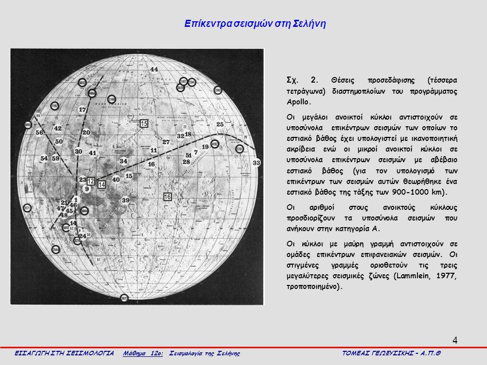 4 ΕΙΣΑΓΩΓΗ ΣΤΗ ΣΕΙΣΜΟΛΟΓΙΑ Μάθημα 12ο: Σεισμολογία της Σελήνης ΤΟΜΕΑΣ ΓΕΩΦΥΣΙΚΗΣ – Α.Π.Θ Επίκεντρα σεισμών στη Σελήνη Σχ. 2. Θέσεις προσεδάφισης (τέσσ