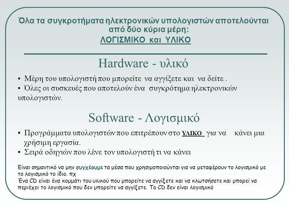 Όλα τα συγκροτήματα ηλεκτρονικών υπολογιστών αποτελούνται από δύο κύρια μέρη: ΛΟΓΙΣΜΙΚΟ και ΥΛΙΚΟ Hardware - υλικό • Μέρη του υπολογιστή που μπορείτε