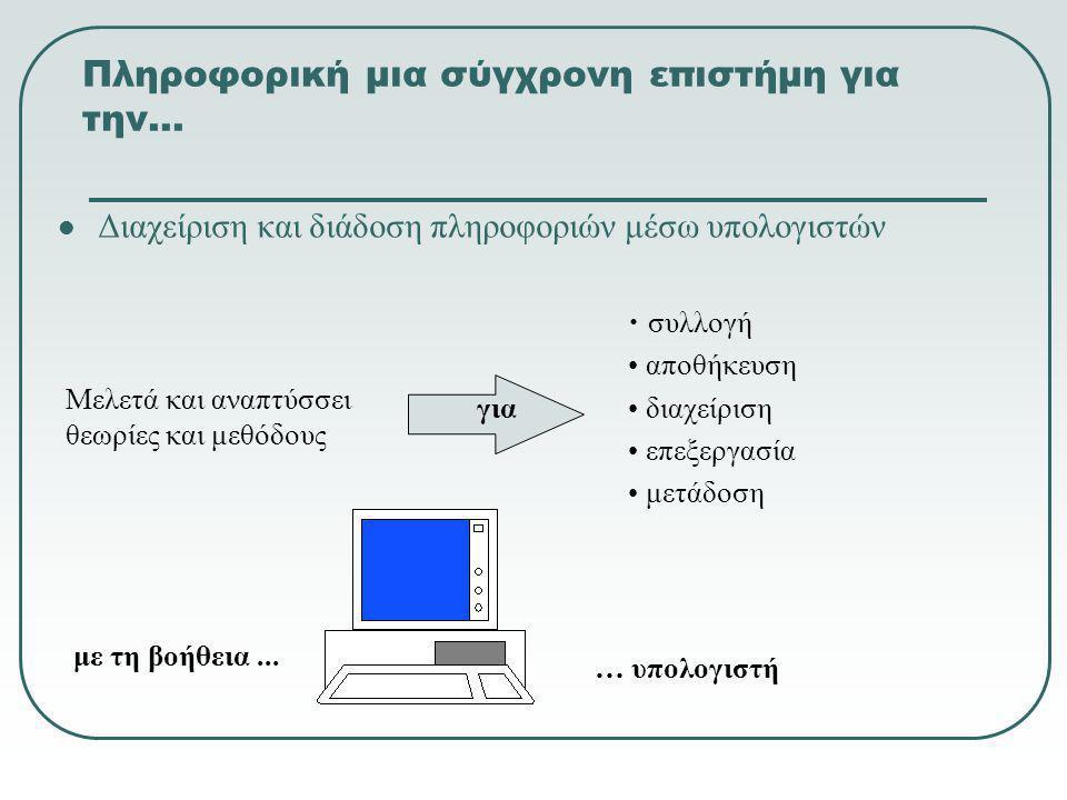 Πληροφορική μια σύγχρονη επιστήμη για την…  Διαχείριση και διάδοση πληροφοριών μέσω υπολογιστών Μελετά και αναπτύσσει θεωρίες και μεθόδους • συλλογή