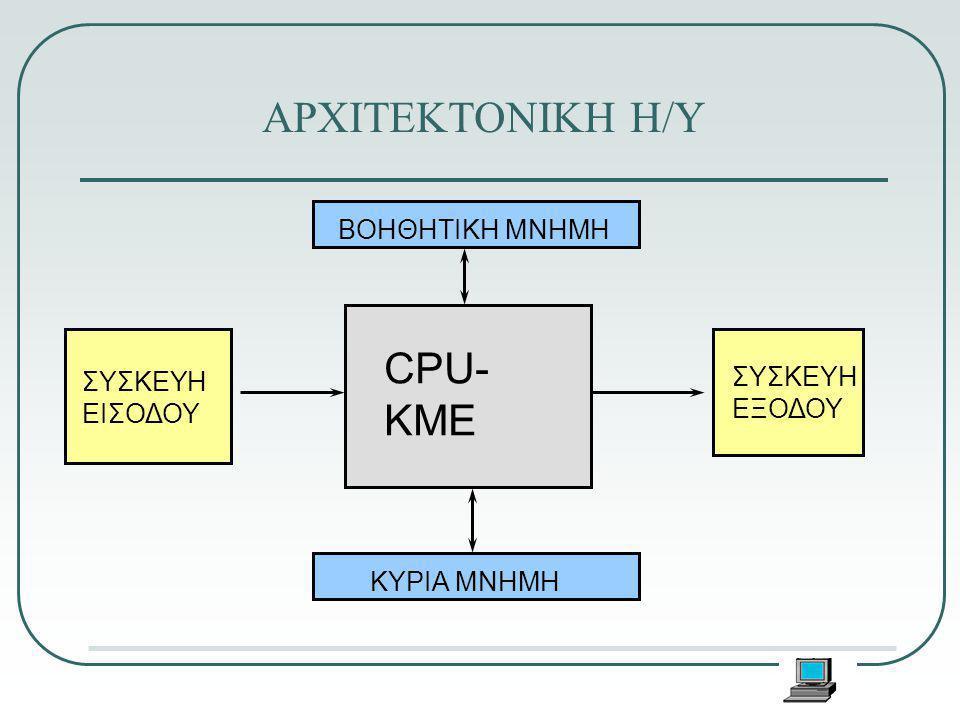 ΑΡΧΙΤΕΚΤΟΝΙΚΗ Η/Υ CPU- ΚΜΕ ΣΥΣΚΕΥΗ ΕΙΣΟΔΟΥ ΣΥΣΚΕΥΗ ΕΞΟΔΟΥ ΒΟΗΘΗΤΙΚΗ ΜΝΗΜΗ ΚΥΡΙΑ ΜΝΗΜΗ