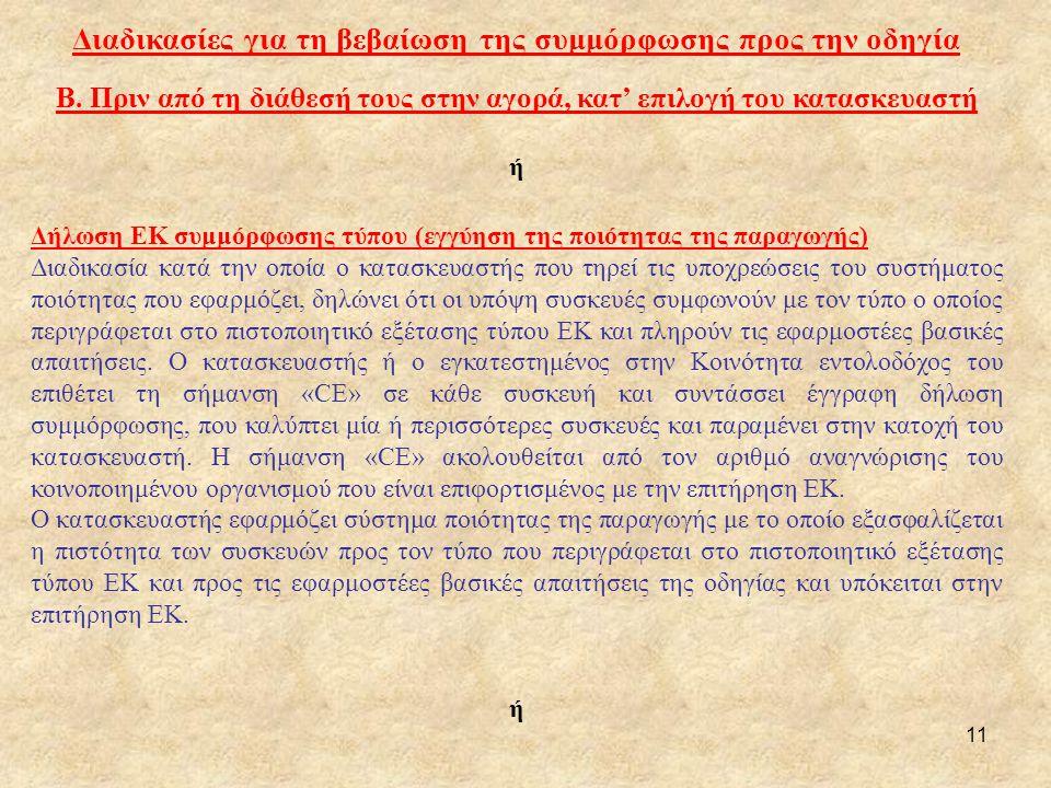 11 Διαδικασίες για τη βεβαίωση της συμμόρφωσης προς την οδηγία Β. Πριν από τη διάθεσή τους στην αγορά, κατ' επιλογή του κατασκευαστή ή Δήλωση ΕΚ συμμό