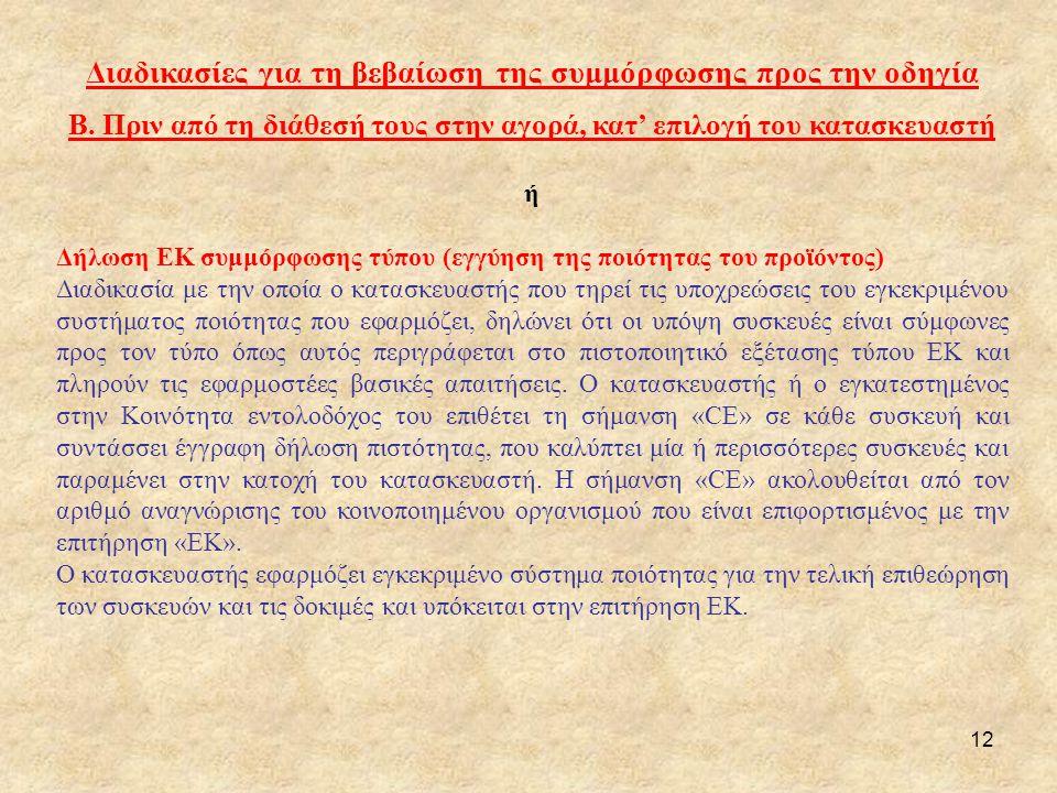 12 Διαδικασίες για τη βεβαίωση της συμμόρφωσης προς την οδηγία Β. Πριν από τη διάθεσή τους στην αγορά, κατ' επιλογή του κατασκευαστή ή Δήλωση ΕΚ συμμό