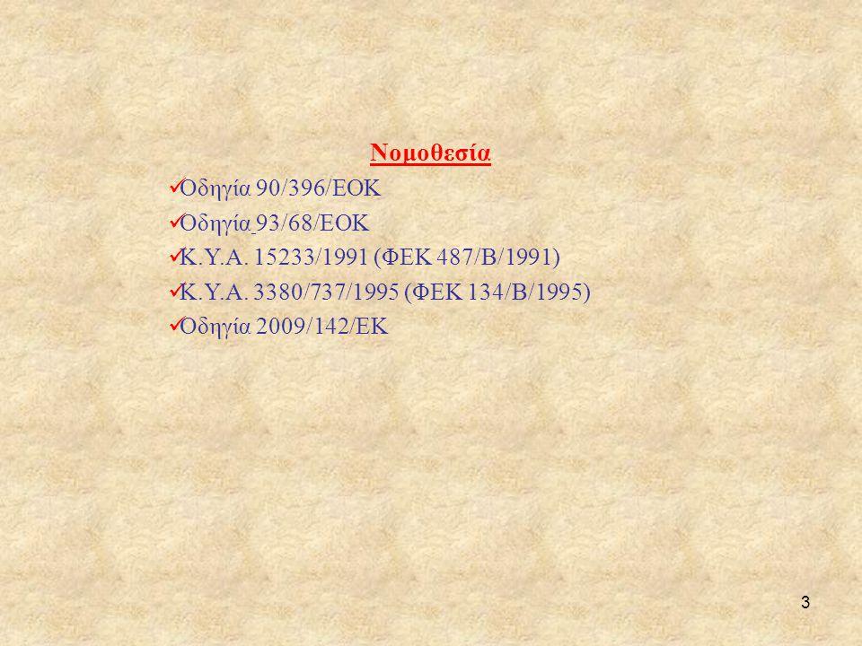3 Νομοθεσία  Οδηγία 90/396/ΕΟΚ  Οδηγία 93/68/ΕΟΚ  Κ.Υ.Α. 15233/1991 (ΦΕΚ 487/Β/1991)  Κ.Υ.Α. 3380/737/1995 (ΦΕΚ 134/Β/1995)  Οδηγία 2009/142/ΕΚ