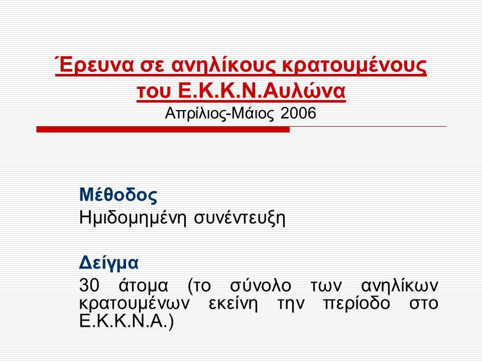 Κοινωνικά χαρακτηριστικά  Οι περισσότεροι (19 άτομα-63.5%) ήταν Έλληνες, κατά πλειοψηφία (79%) Ρομά και Μουσουλμάνοι.