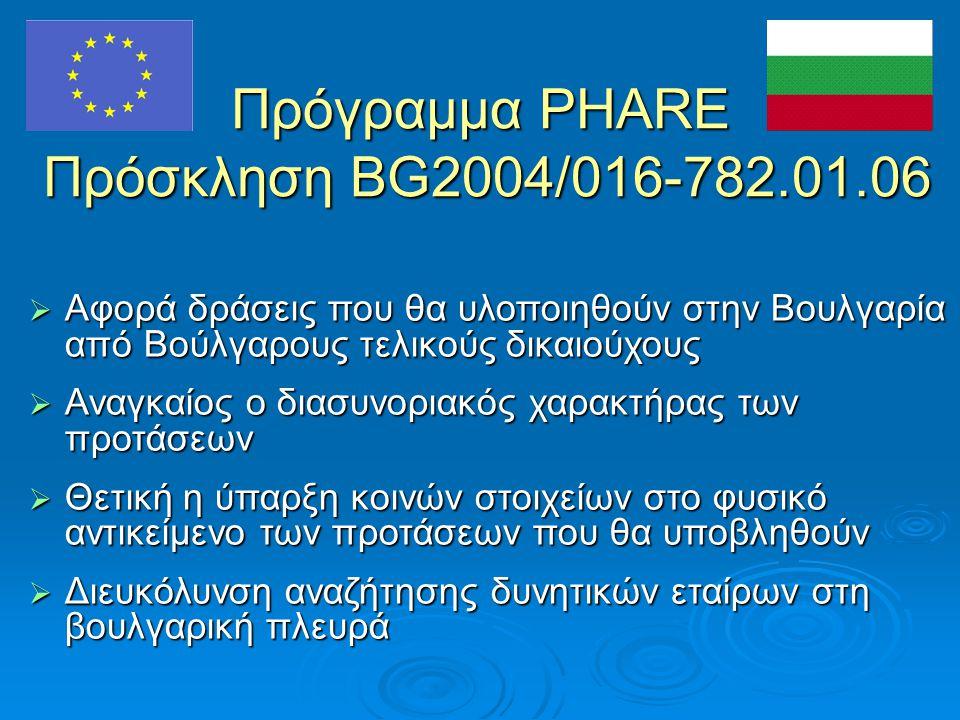 Πρόγραμμα PHARE Πρόσκληση BG2004/016-782.01.06  Αφορά δράσεις που θα υλοποιηθούν στην Βουλγαρία από Βούλγαρους τελικούς δικαιούχους  Αναγκαίος ο διασυνοριακός χαρακτήρας των προτάσεων  Θετική η ύπαρξη κοινών στοιχείων στο φυσικό αντικείμενο των προτάσεων που θα υποβληθούν  Διευκόλυνση αναζήτησης δυνητικών εταίρων στη βουλγαρική πλευρά