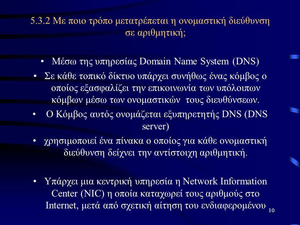 10 5.3.2 Με ποιο τρόπο μετατρέπεται η ονομαστική διεύθυνση σε αριθμητική; •Μέσω της υπηρεσίας Domain Name System (DNS) •Σε κάθε τοπικό δίκτυο υπάρχει