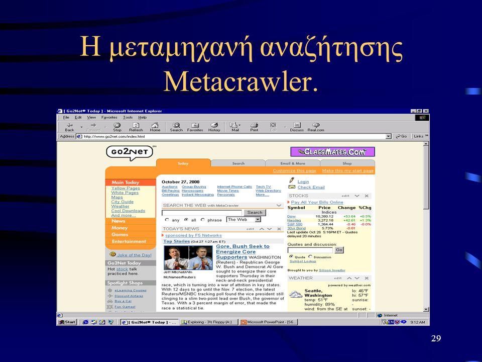 29 Η μεταμηχανή αναζήτησης Metacrawler.