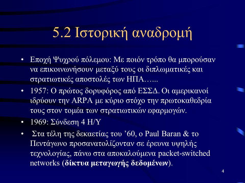 4 5.2 Ιστορική αναδρομή •Εποχή Ψυχρού πόλεμου: Με ποιόν τρόπο θα μπορούσαν να επικοινωνήσουν μεταξύ τους οι διπλωματικές και στρατιωτικές αποστολές τω