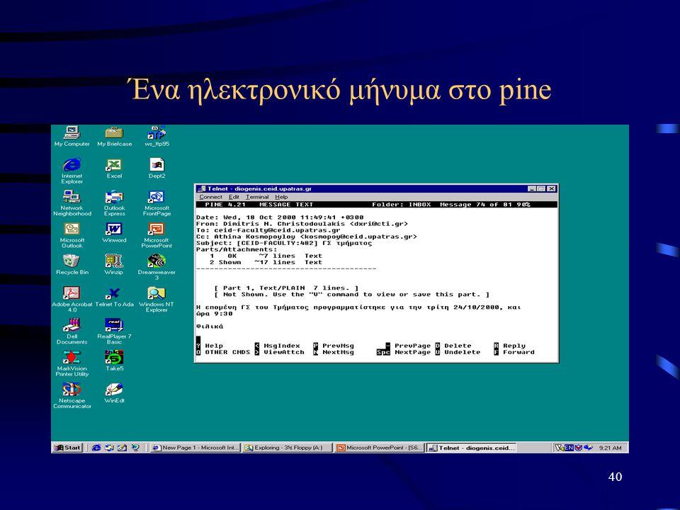 40 Ένα ηλεκτρονικό μήνυμα στο pine