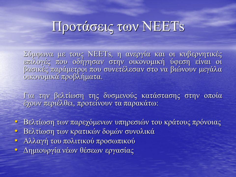 Προτάσεις των ΝΕΕΤs Σύμφωνα με τους ΝΕΕΤs, η ανεργία και οι κυβερνητικές επιλογές που οδήγησαν στην οικονομική ύφεση είναι οι βασικές παράμετροι που συνετέλεσαν στο να βιώνουν μεγάλα οικονομικά προβλήματα.