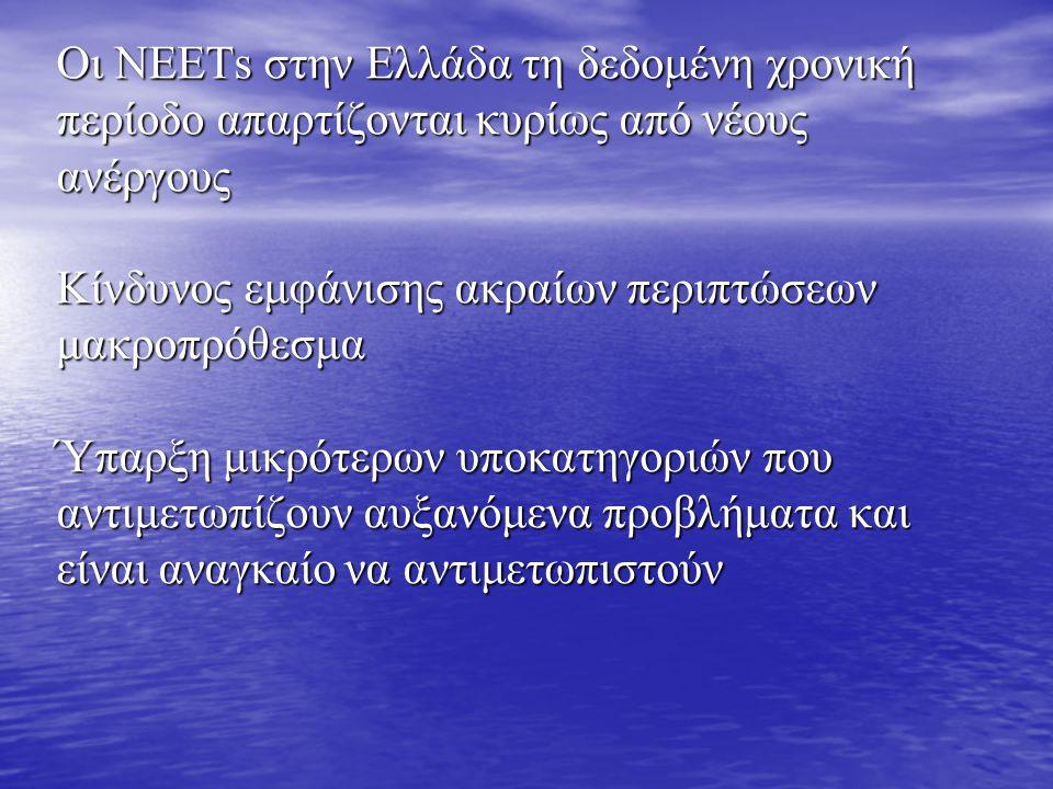 Οι ΝΕΕΤs στην Ελλάδα τη δεδομένη χρονική περίοδο απαρτίζονται κυρίως από νέους ανέργους Κίνδυνος εμφάνισης ακραίων περιπτώσεων μακροπρόθεσμα Ύπαρξη μικρότερων υποκατηγοριών που αντιμετωπίζουν αυξανόμενα προβλήματα και είναι αναγκαίο να αντιμετωπιστούν