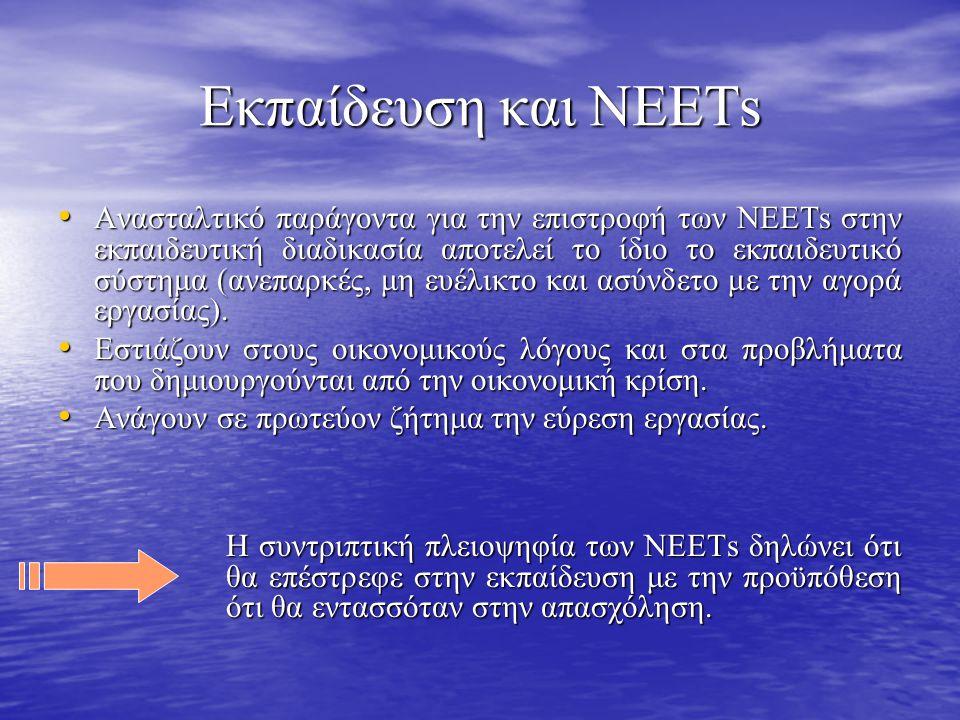 Εκπαίδευση και ΝΕΕΤs • Ανασταλτικό παράγοντα για την επιστροφή των ΝΕΕΤs στην εκπαιδευτική διαδικασία αποτελεί το ίδιο το εκπαιδευτικό σύστημα (ανεπαρκές, μη ευέλικτο και ασύνδετο με την αγορά εργασίας).