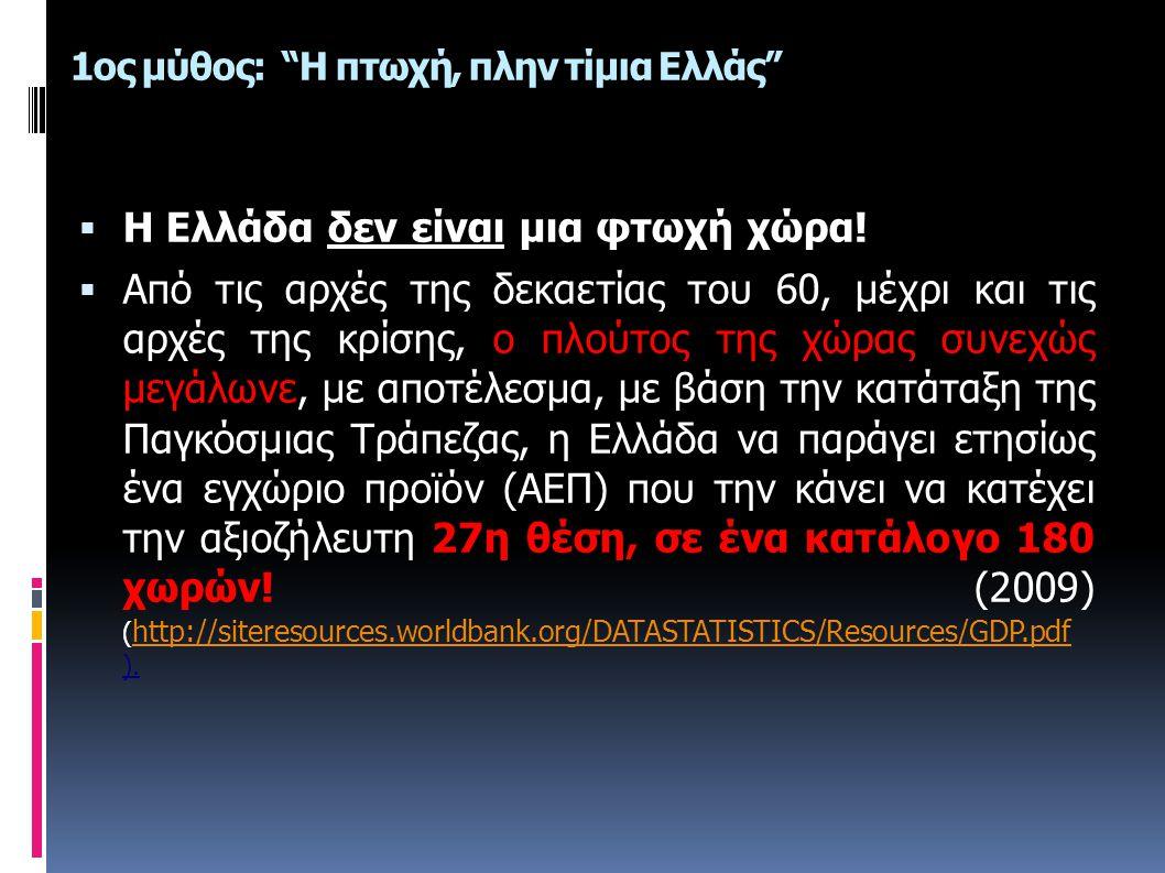 """1ος μύθος: """"Η πτωχή, πλην τίμια Ελλάς""""  Η Ελλάδα δεν είναι μια φτωχή χώρα!  Από τις αρχές της δεκαετίας του 60, μέχρι και τις αρχές της κρίσης, ο πλ"""