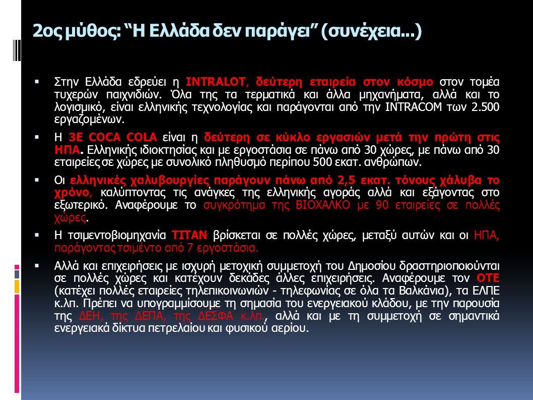 """2ος μύθος: """"Η Ελλάδα δεν παράγει"""" (συνέχεια...)  Στην Ελλάδα εδρεύει η INTRALOT, δεύτερη εταιρεία στον κόσμο στον τομέα τυχερών παιχνιδιών. Όλα της τ"""