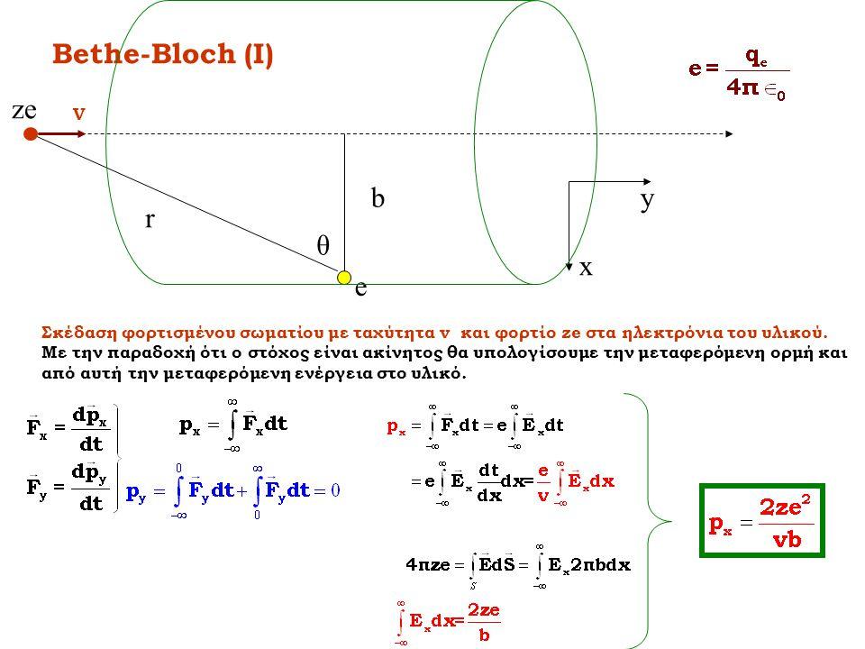 Bethe-Bloch (I) b r θ x y ze e V Σκέδαση φορτισμένου σωματίου με ταχύτητα v και φορτίο ze στα ηλεκτρόνια του υλικού. Με την παραδοχή ότι ο στόχος είνα