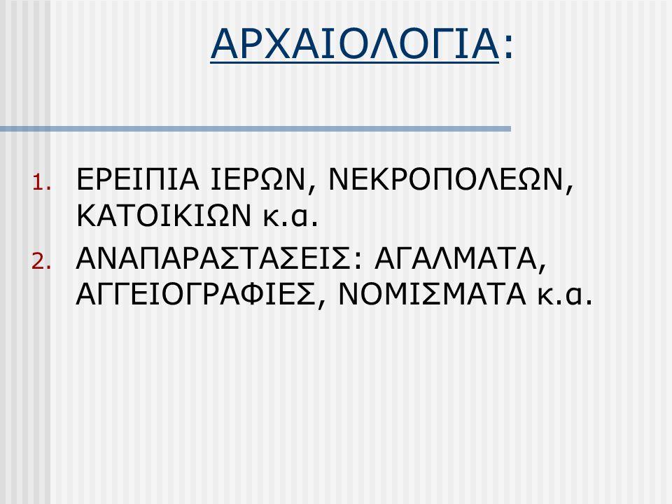 ΑΡΧΑΙΟΛΟΓΙΑ: 1. ΕΡΕΙΠΙΑ ΙΕΡΩΝ, ΝΕΚΡΟΠΟΛΕΩΝ, ΚΑΤΟΙΚΙΩΝ κ.α. 2. ΑΝΑΠΑΡΑΣΤΑΣΕΙΣ: ΑΓΑΛΜΑΤΑ, ΑΓΓΕΙΟΓΡΑΦΙΕΣ, ΝΟΜΙΣΜΑΤΑ κ.α.