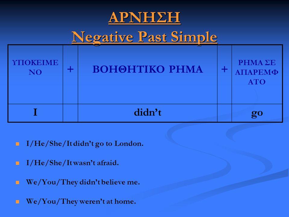 ΑΡΝΗΣΗ Negative Past Simple   I/He/She/It didn't go to London.   I/He/She/It wasn't afraid.   We/You/They didn't believe me.   We/You/They wer