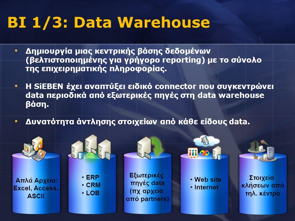 • Δημιουργία μιας κεντρικής βάσης δεδομένων (βελτιστοποιημένης για γρήγορο reporting) με το σύνολο της επιχειρηματικής πληροφορίας. • Η SiEBEN έχει αν