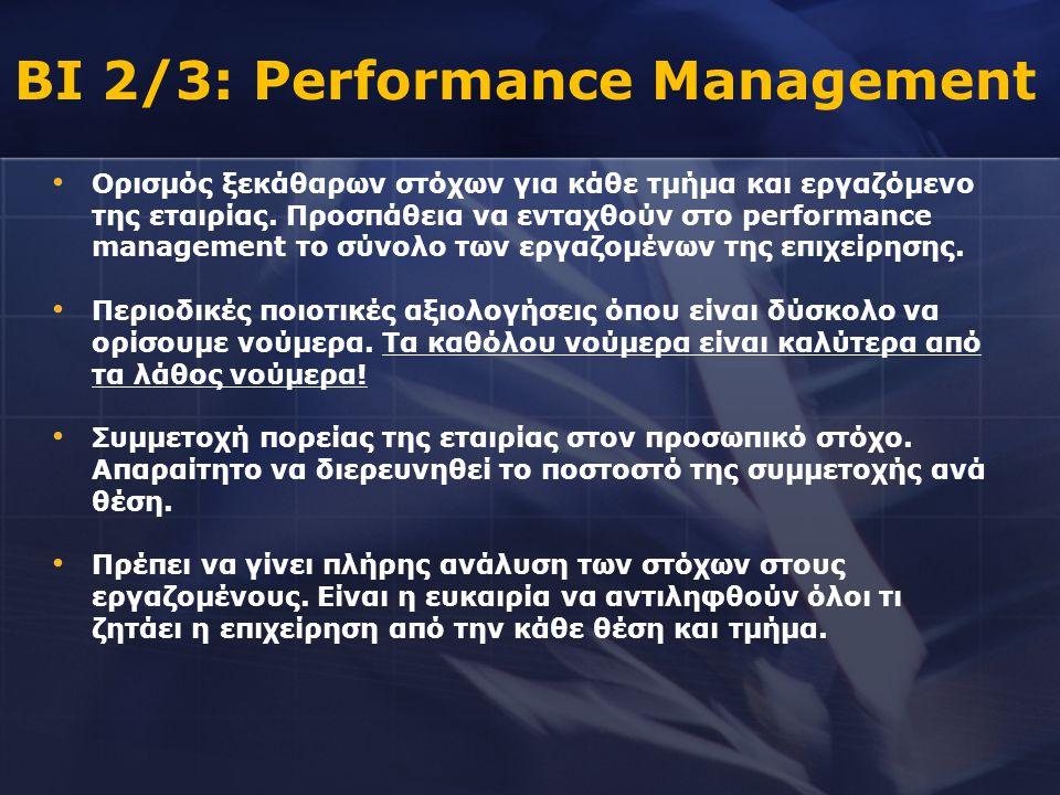 • Ορισμός ξεκάθαρων στόχων για κάθε τμήμα και εργαζόμενο της εταιρίας. Προσπάθεια να ενταχθούν στο performance management το σύνολο των εργαζομένων τη